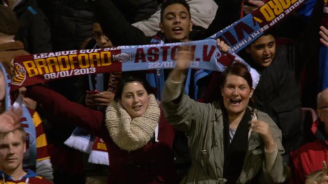 Bradford City fans celebrate beating Aston Villa