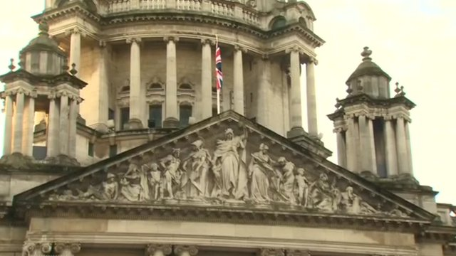 Union flag raised above Belfast City Hall