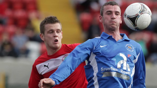 Match action from Cliftonville against Ballinamallard
