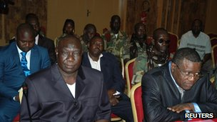 Lead rebel negotiator, Michel Am-Nondokro Djotodia (left), at peace talks in Gabon