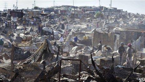 Burnt houses
