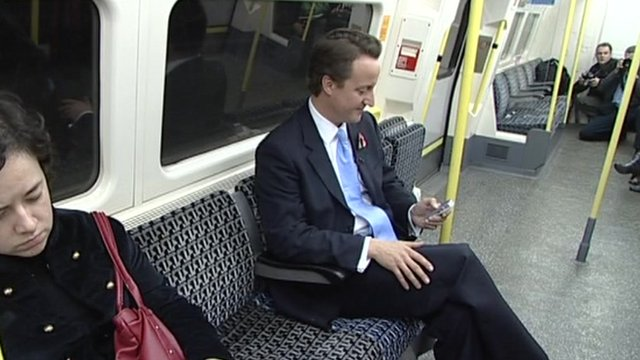 David Cameron on Tube train