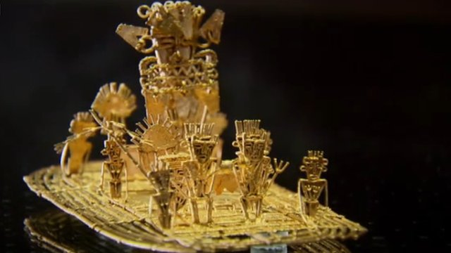 The Muisca Raft is on display at the Gold Museum in Bogota