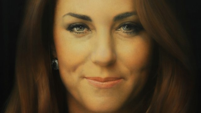 Close up of the new portrait of the Duchess of Cambridge by artist Paul Emsley