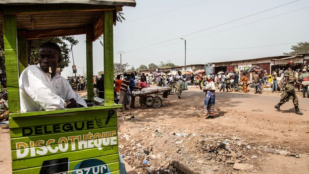 People pictured in the neighbourhood of Combattants in Bangui