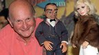 Gerry Anderson with two of the original puppets from Thunderbirds