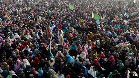 Supporters at the Lahore rally on 23 December