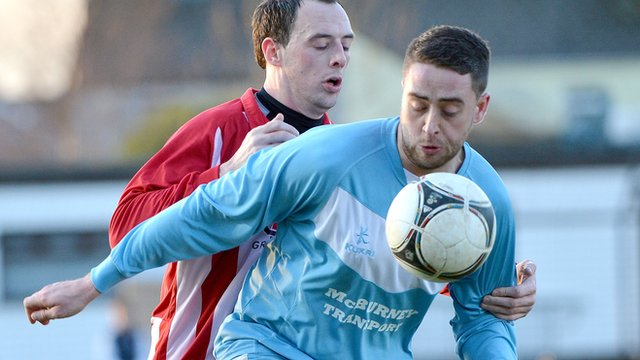 Match action from Ballymena United against Warrenpoint Town