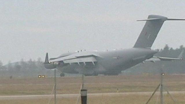 RAF plane landing