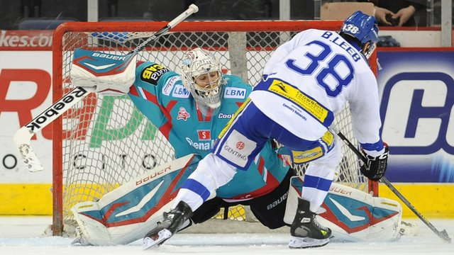 Stephen Murphy of the Belfast Giants saves from Brad Leeb of the Coventry Blaze during the penalty shoot-out win in the Elite League game in Belfast.