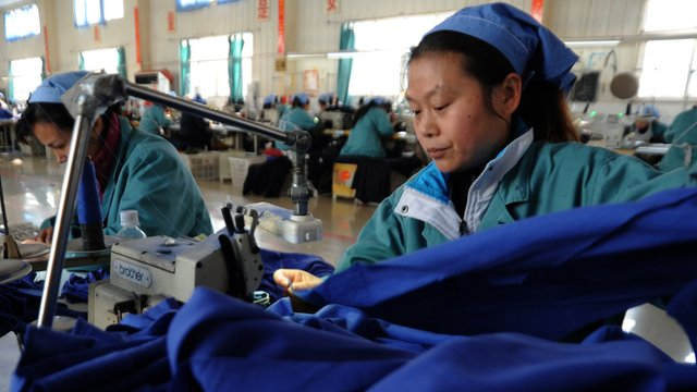 Women workers in a clothing factory in Huaibei, central China