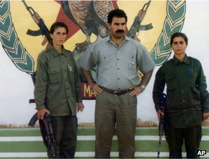 Sakine Cansiz (left) with Abdullah Ocalan and another unidentified militant in Lebanon, early 1990s