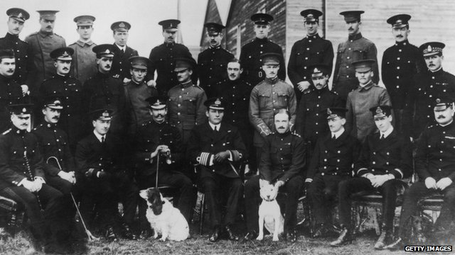Officers attending the first course at the newly established Central Flying School in 1912 - Hugh Trenchard, pictured centre row, far right - Robert Smith-Barry, centre row, fourth from the left,