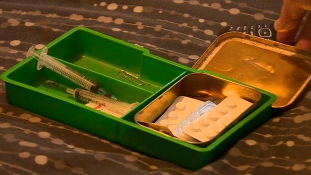 Box containing drug paraphernalia