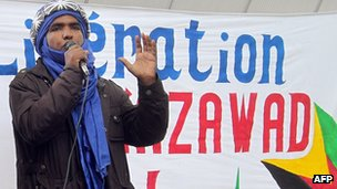 Moussa Ag Assarid, Malian spokesman for the National Movement for the Liberation of Azawad (MNLA), in Paris in April 2012