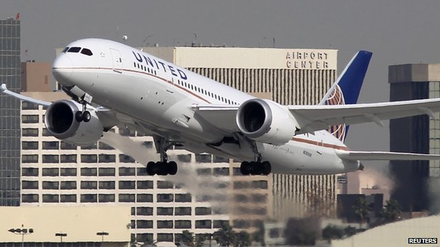 A Boeing 787 Dreamliner operated by United Airlines