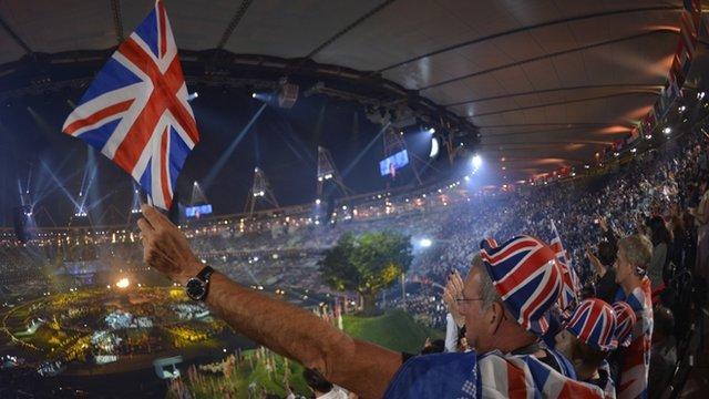 Man waving Union Jack in Olympic stadium