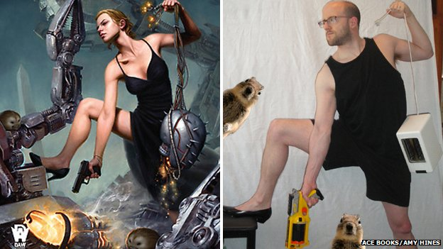 A pose by super-being exterminator Kitty Martini is recreated by Jim Hines