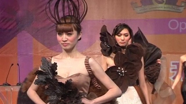 Models wear outfits made partly from chocolate
