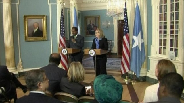 Hassan Sheikh Mohamud and Hillary Clinton