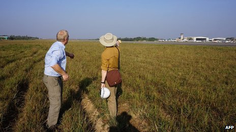 David Cundall (left) with Wargaming's Tracy Spaight at site of dig in Rangoon airport on 9/1/13