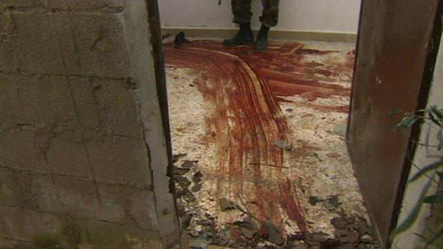 Blood streaks on ground