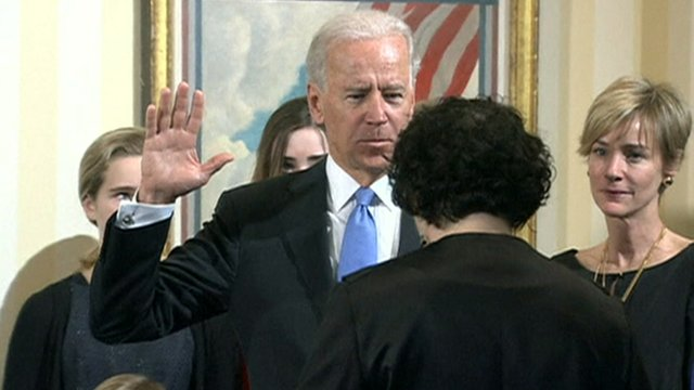 Vice-President Joe Biden takes the oath of office