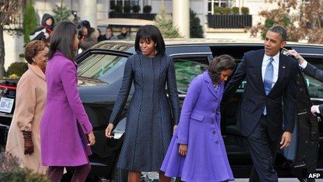 The Obama family enter St John's Church in Washington DC (21 January 2013)