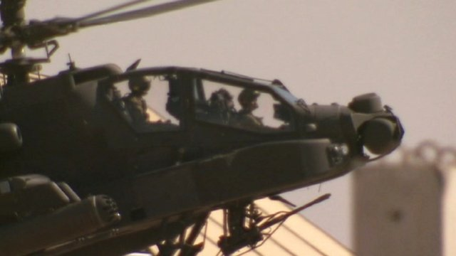 Prince Harry in his Apache attack helicopter