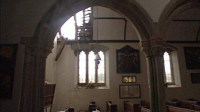 Damage at Pillaton Church