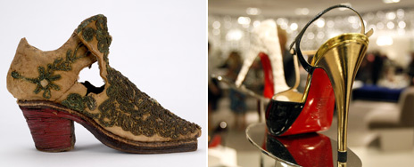 A child's shoe from the mid-17th Century and a Christian Louboutin from 2007