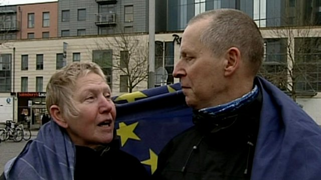 Two people in Bristol with EU flag