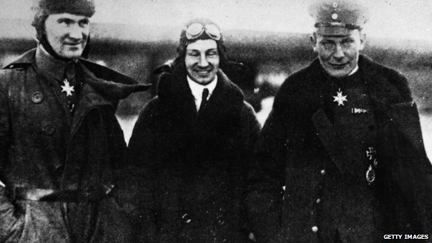 Dutch engineer Anthony Fokker , centre, poses with German flying aces Hermann Goering, right, and Bruno Loerzer during World War I