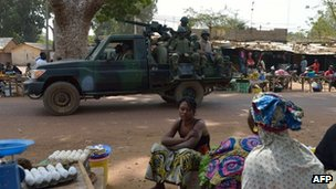 The first Burkinabe military patrol, as members of the African forces in Mali, arrives in Merkala