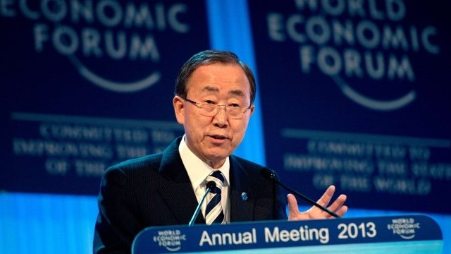 Ban Ki-Moon speaking at the World Economic Forum in Davos