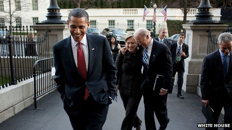 Clinton with Barack Obama and Vice-President Joe Biden in 2009