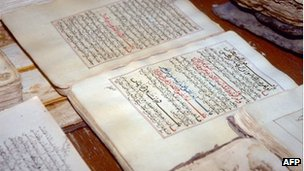 Handout picture dated 1997 and released on July 1, 2012 by the UN shows ancient manuscripts displayed at the library in the city of Timbuktu