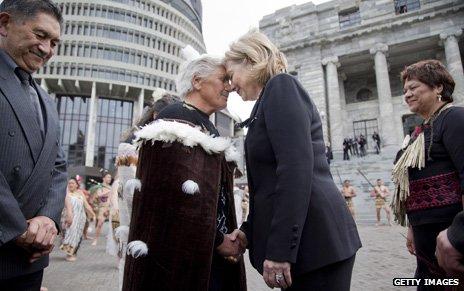 Meeting Maori elders in New Zealand, 2010