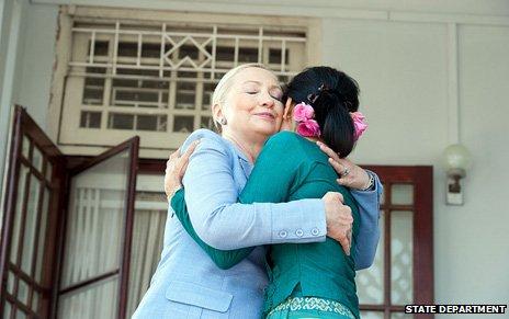 Hillary Clinton with Burmese democracy leader Aung San Suu Kyi
