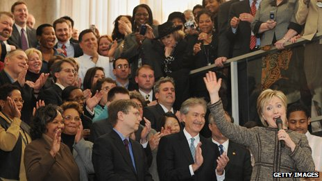 Applauded by staff at the state department, Jan 2009