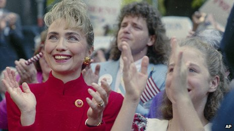 Hillary Clinton at a rally in 1991