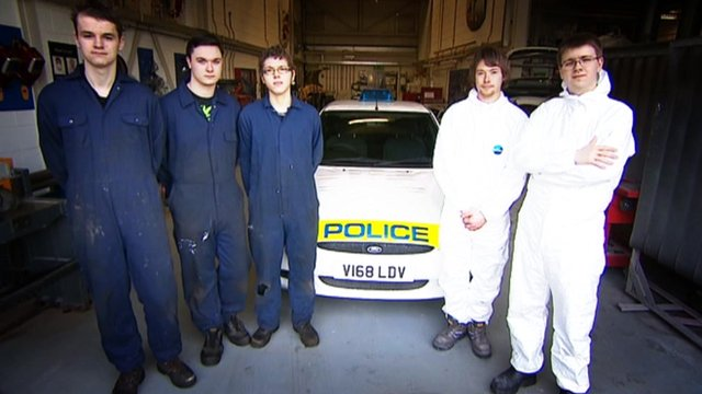 The five apprentices with their police care