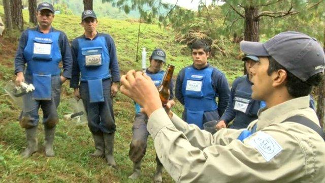Colombian civilians receiving training in safe landmine disposal