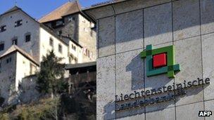 The headquarters of Liechtenstein's central bank seen in front of the princely castle in Vaduz