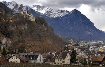Vaduz, capital of Liechtenstein, with the prince's castle in the background