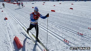 Laura Cross takes part in the FIS Cross Country skiing World Cup at Sochi earlier in February