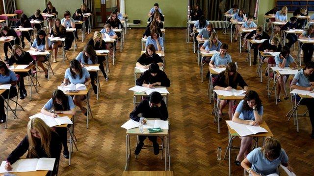 pupils in exam hall