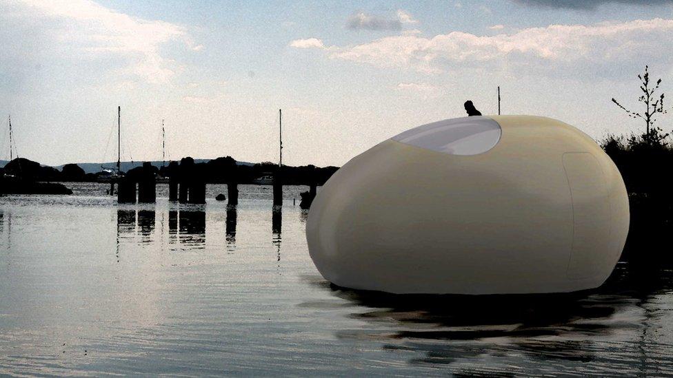 Bbc News Giant Egg Becomes Artist S Floating Studio In