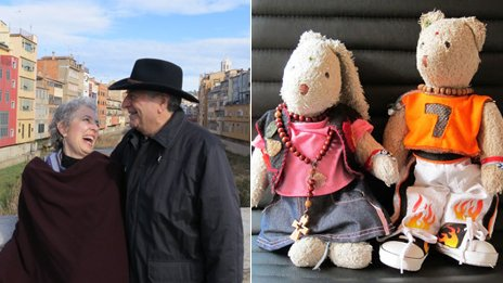 Elyn and her husband on a bridge on the left. Their teddy bears Camila and Arthur on the right.