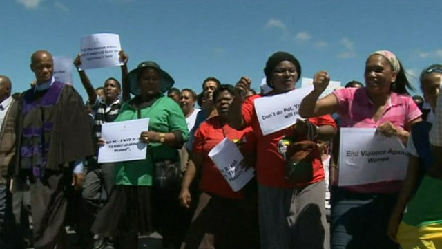 Protesters marching in Bredasdorp, South Africa